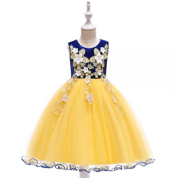 Princess Flower Girl Dress Sleeveless Lace Formal Birthday Prom Party Tutu Gown Children Kids Clothes royal blue