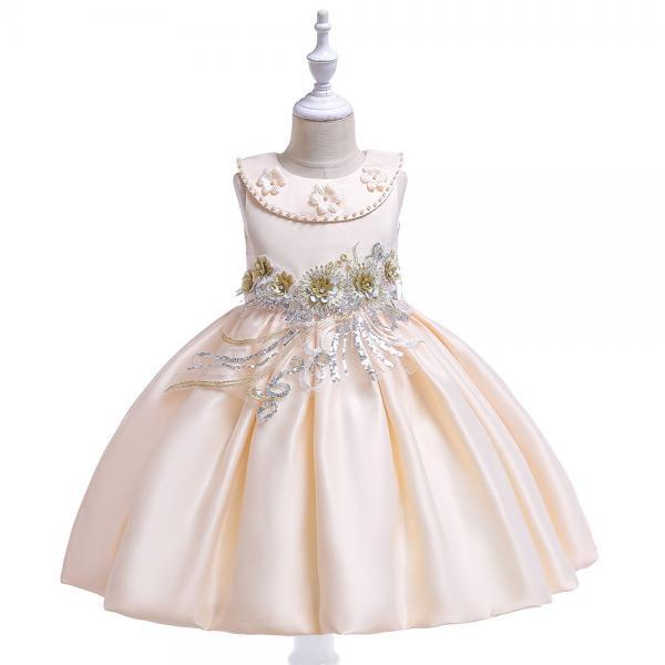 Embroidery Flower Girl Dress Beaded Teens Formal Birthday Perform Princess Party Gown Children Clothes champagne