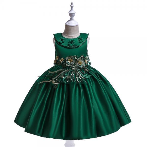 Embroidery Flower Girl Dress Beaded Teens Formal Birthday Perform Princess Party Gown Children Clothes hunter green