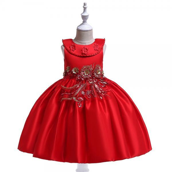 Embroidery Flower Girl Dress Beaded Teens Formal Birthday Perform Princess Party Gown Children Clothes red