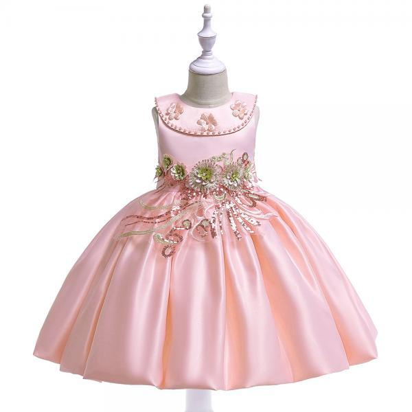 Embroidery Flower Girl Dress Beaded Teens Formal Birthday Perform Princess Party Gown Children Clothes salmon