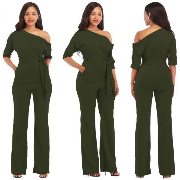 Women Jumpsuit Off the Shoulder Half Sleeve Plus Size Belted Wide Leg Rompers Overalls army green