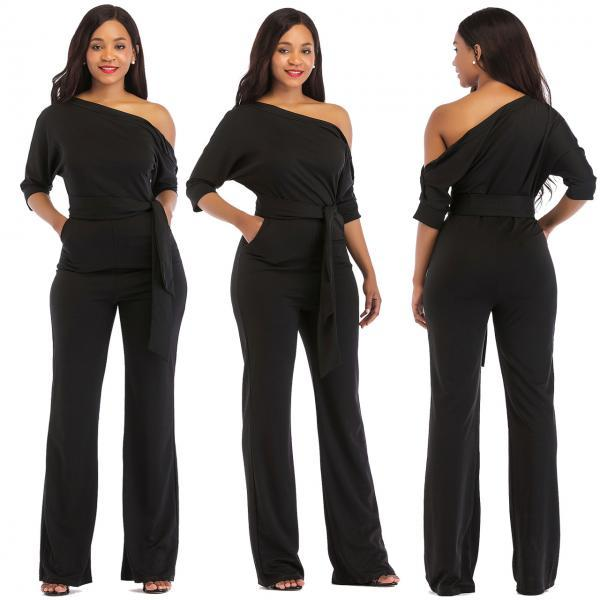 Women Jumpsuit Off the Shoulder Half Sleeve Plus Size Belted Wide Leg Rompers Overalls v