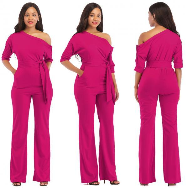 Women Jumpsuit Off the Shoulder Half Sleeve Plus Size Belted Wide Leg Rompers Overalls hot pink