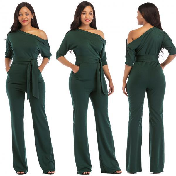 Women Jumpsuit Off the Shoulder Half Sleeve Plus Size Belted Wide Leg Rompers Overalls hunter green