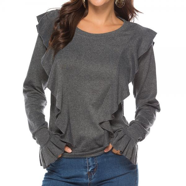 Women Long Sleeve T Shirt Autumn Winter Ruffles Flare Sleeve Casual Pullover Tops gray