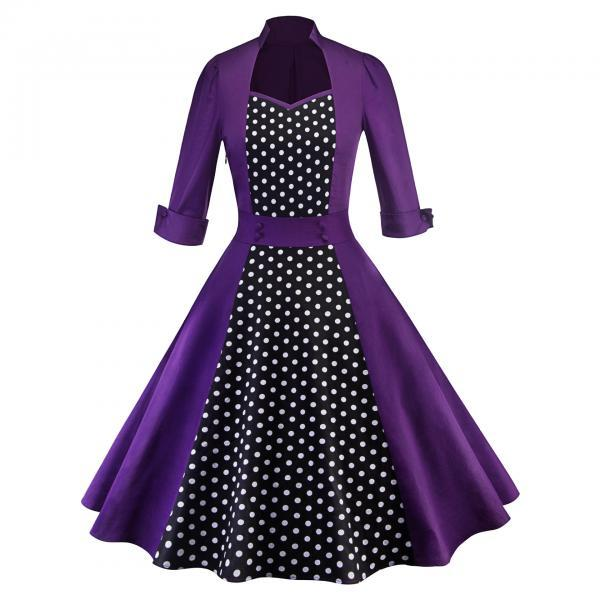 Women Polka Dot Printed Dress Vintage 50 60s 3/4 Sleeve Patchwork Casual Rockabilly A Line Party Dress purple