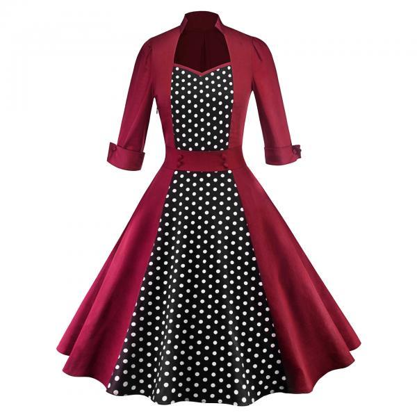 Women Polka Dot Printed Dress Vintage 50 60s 3/4 Sleeve Patchwork Casual Rockabilly A Line Party Dress wine red