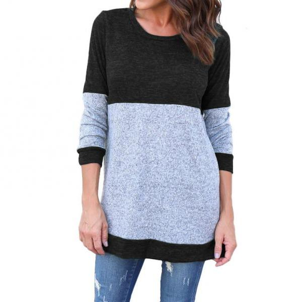 Women Long Sleeve T Shirt Spring Autumn Casual Patchwork Streetwear Pullover Tops black