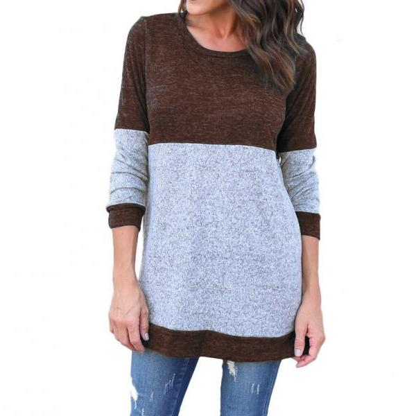 Women Long Sleeve T Shirt Spring Autumn Casual Patchwork Streetwear Pullover Tops coffee