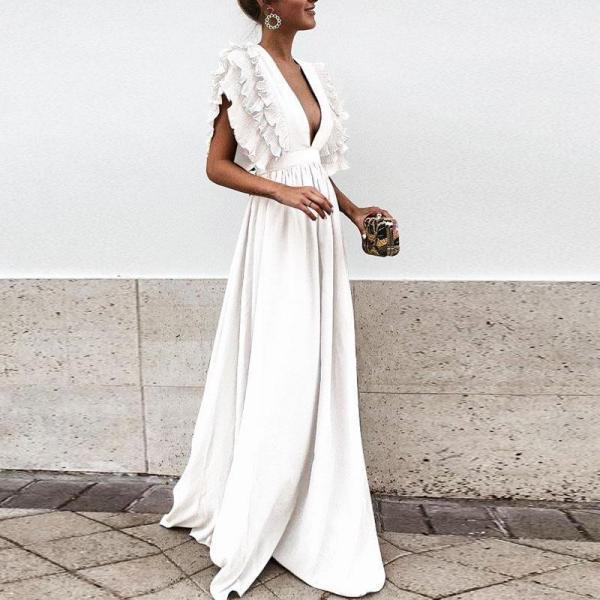 Women Maxi Dress Sexy V Neck Floor-Length Ruffles Short Sleeve Backless Long Party Dress off white