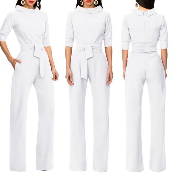 Women Jumpsuit Half Sleeve Stand Collar Belted Casual Wide Leg Pants Office Rompers Overalls off white