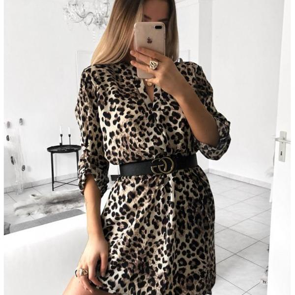 Women Shirt Dress V Neck Snake/Leopard Printed Long Sleeve Casual Loose Mini Club Party Dress 4#