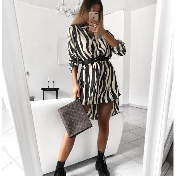 Women Shirt Dress V Neck Snake/Leopard Printed Long Sleeve Casual Loose Mini Club Party Dress 5#