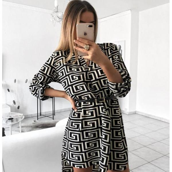 Women Shirt Dress V Neck Snake/Leopard Printed Long Sleeve Casual Loose Mini Club Party Dress 6#