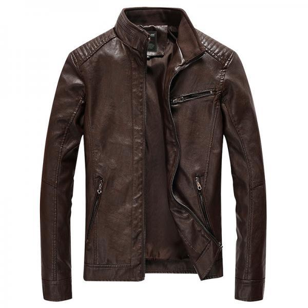 Men Faux PU Leather Jacket Fashion Casual Long Sleeve Streetwear Slim Motorcycle Coat Outwear coffee