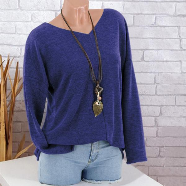 Women Knitted Sweater Autumn V Neck Long Sleeve Casual Loose Plus Size Pullover Tops blue