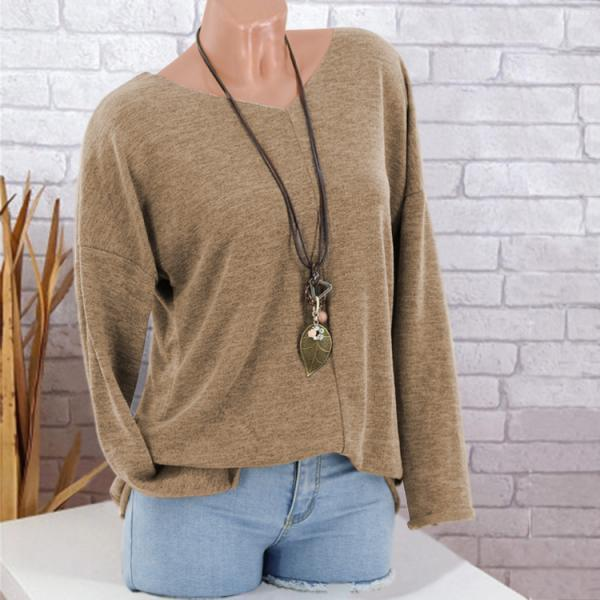 Women Knitted Sweater Autumn V Neck Long Sleeve Casual Loose Plus Size Pullover Tops coffee