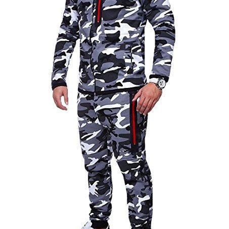 Men Camouflage Printed Tracksuit Hooded Coat+Trousers Causal Sportswear Two Pieces Set gray