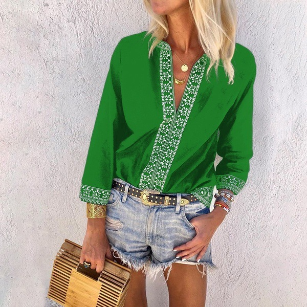Women Blouse Spring Summer V Neck 3/4 Sleeve Floral Patchwork Casual Plus Size Top Shirt green