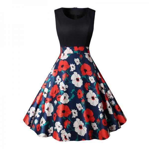 Women Floral Printed Dress Summer Casual Patchwork Sleeveless Rockbility A-Line Formal Party Dress 11#
