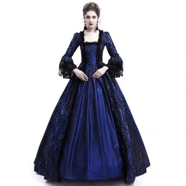 Women Medieval Princess Costumes Century Gothic Victorian Queen Lace Long Sleeve Ball Gown Dress navy blue