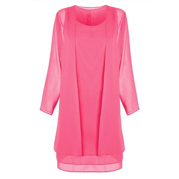 Women Chiffon Midi Dress Plus size Long Sleeve Casual Loose Two Pieces Dress deep pink