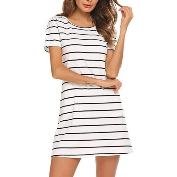 Women Striped Dress Summer Beach Short Sleeve Back Cross Slim Mini Casual Dress off white