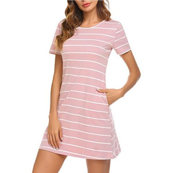 Women Striped Dress Summer Beach Short Sleeve Back Cross Slim Mini Casual Dress pink