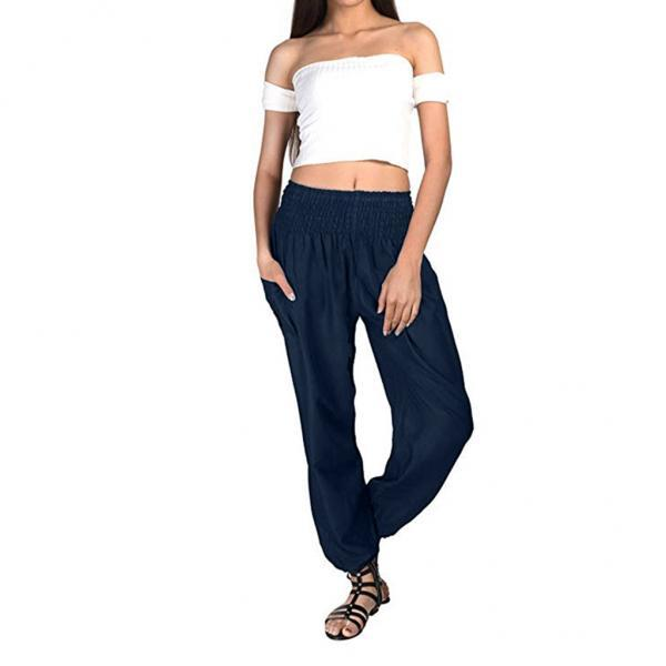 Women Harem Pants Elastic Waist Summer Pockets Plus Size Casual Loose Trousers navy blue