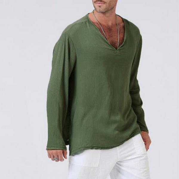 Men Long Sleeve T Shirt Spring Fall V Neck Cotton Linen Casual Loose Pullover Tops army green