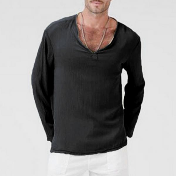 Men Long Sleeve T Shirt Spring Fall V Neck Cotton Linen Casual Loose Pullover Tops black
