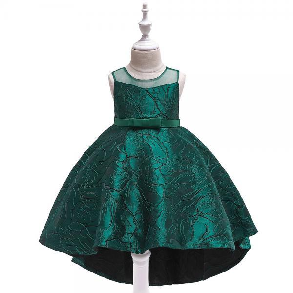 Jacquard Flower Girl Dress Princess High Low Birthday Formal Party Gown Kids Children Clothes hunter green