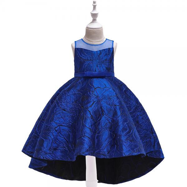 Jacquard Flower Girl Dress Princess High Low Birthday Formal Party Gown Kids Children Clothes royal blue