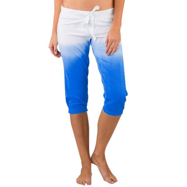 Women Gradient Color Cropped Pants Drawstring Mid Waist Summer Casual Slim Fitness Trousers blue