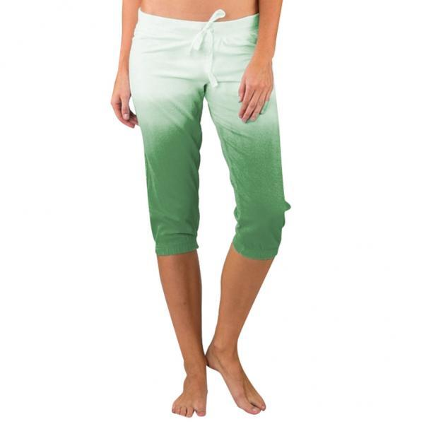 Women Gradient Color Cropped Pants Drawstring Mid Waist Summer Casual Slim Fitness Trousers green