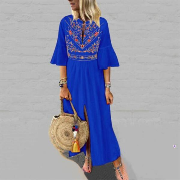 Women Maxi Dress Floral Printed Patchwork Ruffle Half Sleeve Casual Split Summer Beach Boho Long Dress blue