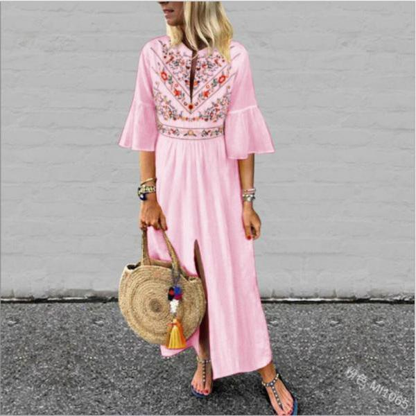 Women Maxi Dress Floral Printed Patchwork Ruffle Half Sleeve Casual Split Summer Beach Boho Long Dress pink