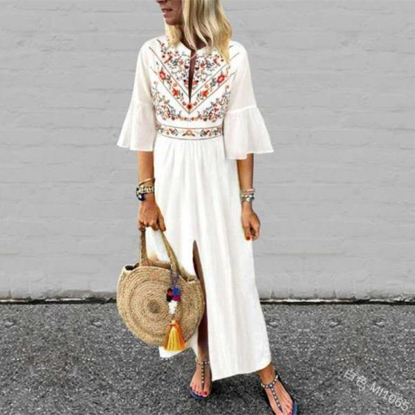 Women Maxi Dress Floral Printed Patchwork Ruffle Half Sleeve Casual Split Summer Beach Boho Long Dress white