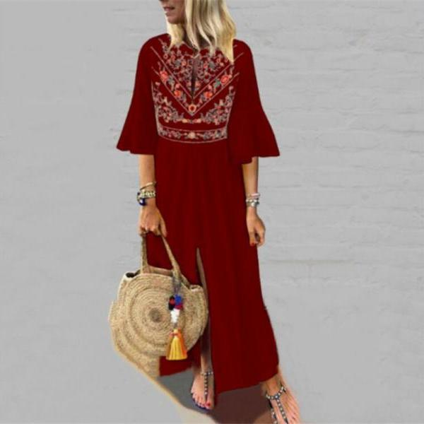 Women Maxi Dress Floral Printed Patchwork Ruffle Half Sleeve Casual Split Summer Beach Boho Long Dress wine red