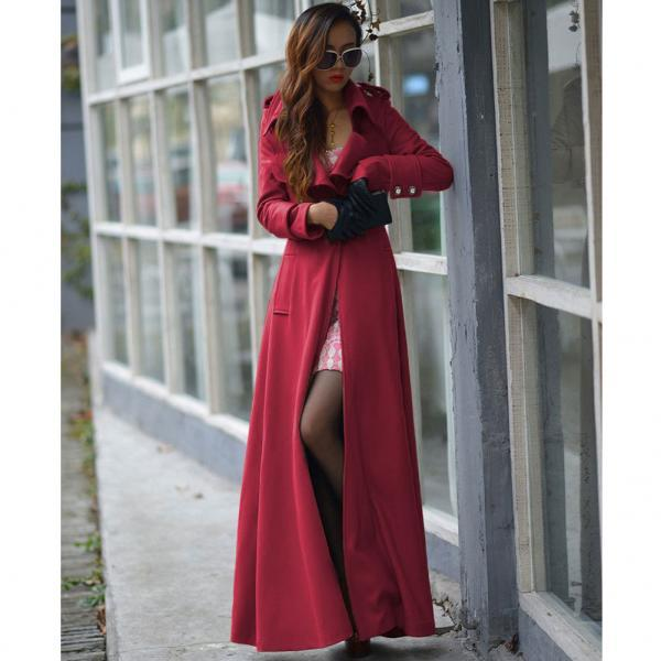 Floor Length Red Coat Women Jackets Cashmere Blend Long Sleeve Maxi Dress Wool Winter Windbreaker S M L XL 2XL