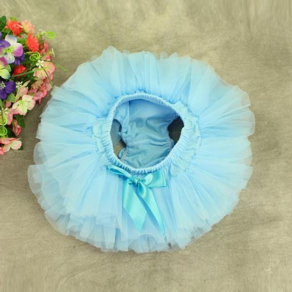 Baby Girls Fluffy Tutu Skirt Costume Princess Tulle Petticoat Photo Prop light blue color