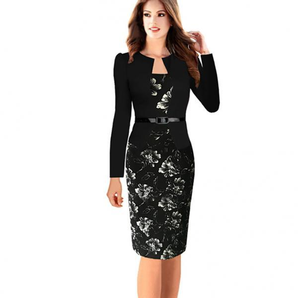 Womens Elegant Long Sleeve Floral Printed Faux Jacket One-Piece Belted Patchwork Work Business Pencil Sheath Bodycon Dress black Color