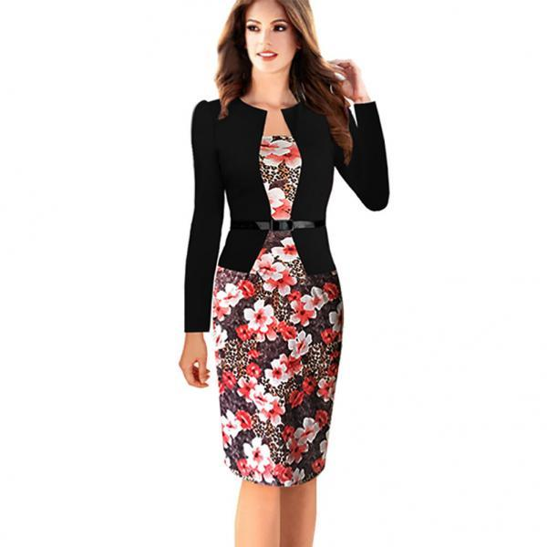 Womens Elegant Long Sleeve Floral Printed Faux Jacket One-Piece Belted Patchwork Work Business Pencil Sheath Bodycon Dress red Color
