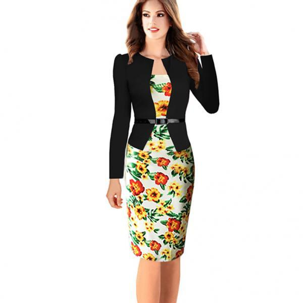 Womens Elegant Long Sleeve Floral Printed Faux Jacket One-Piece Belted Patchwork Work Business Pencil Sheath Bodycon Dress yellow Color