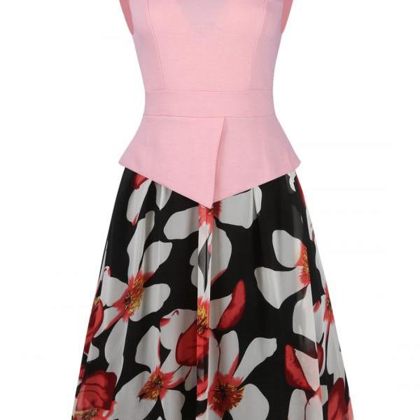 Women Sleeveless Chiffon Summer Floral Patchwork Fake Two Pieces Party Swing Casual Dresses pink color